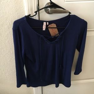 NWT RED CAMEL BELK Navy Lace Up Shirt Size Small